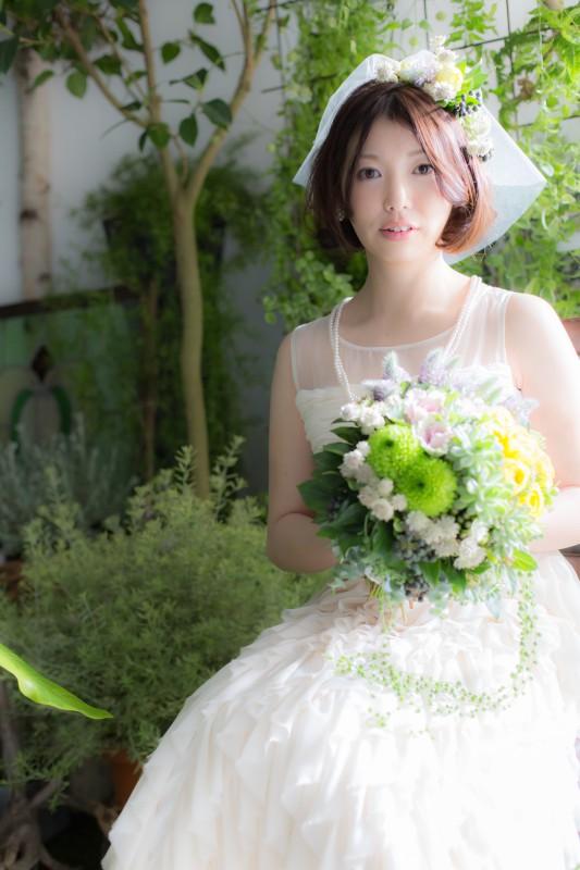 結婚式 花嫁 髪型 ボブ