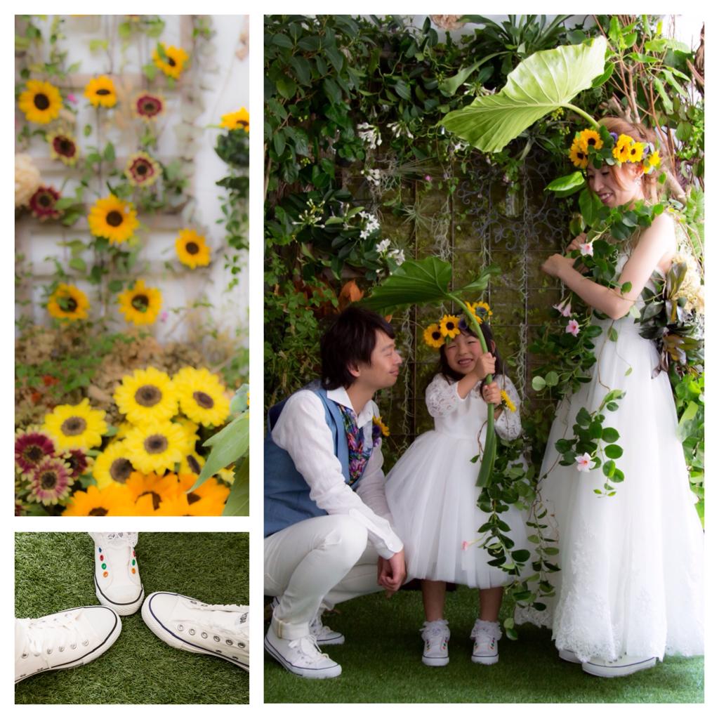 結婚写真 花