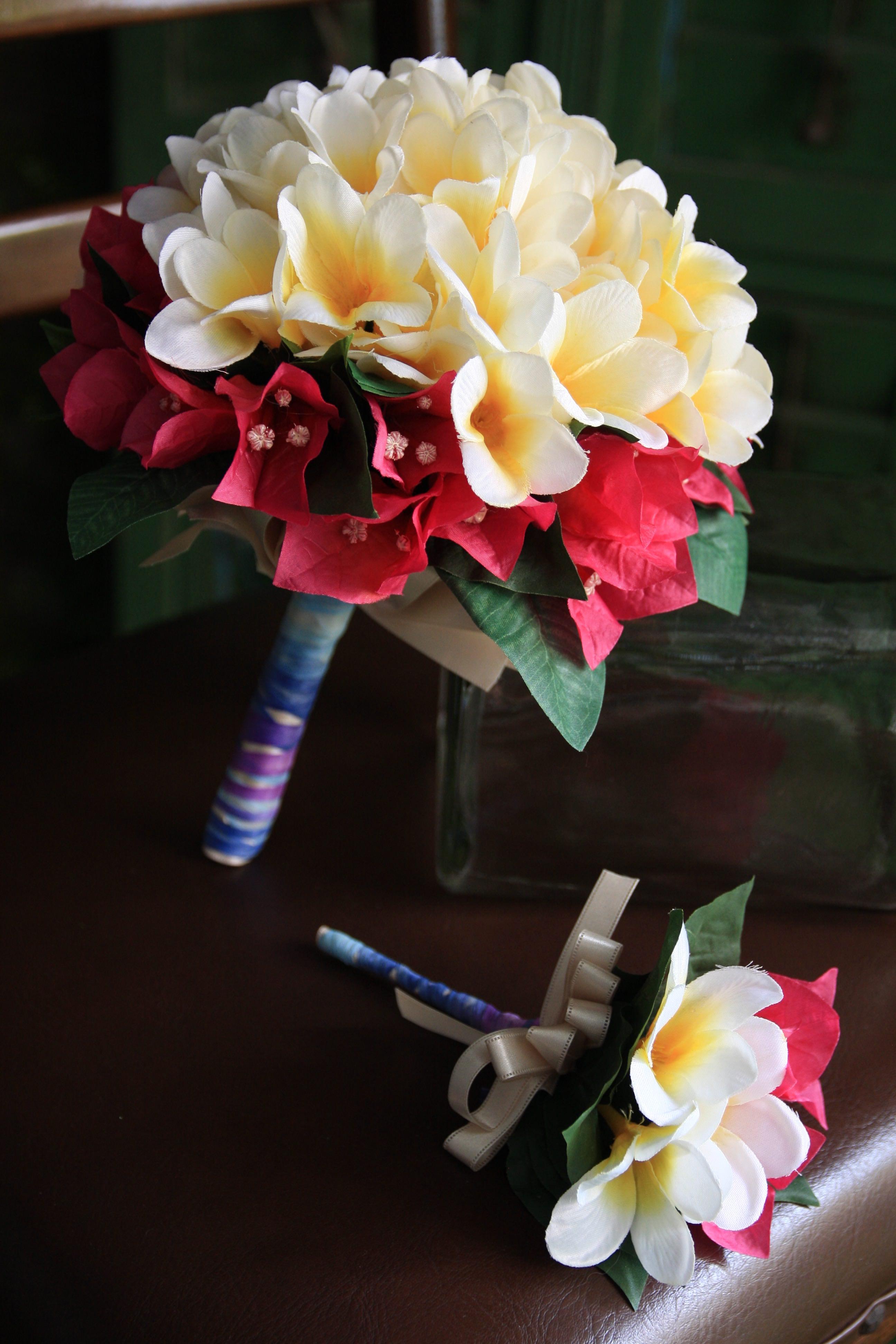 造花 ウェディングブーケ プルメリア